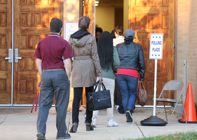 Voters enter a polling place at the Ukrainian Catholic National Shrine of the Holy Family in Washington Nov. 8. (CNS/Bob Roller)