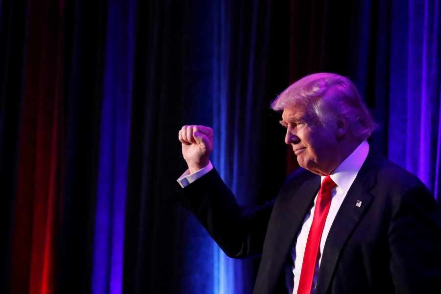 President-elect Donald Trump arrives for his post-election rally at the New York Hilton Midtown in Manhattan in the early morning hours Nov. 9. (CNS/Reuters)