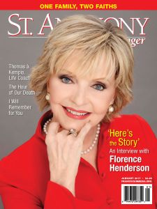 Actress Florence Henderson on the cover of the January 2017 issue of St. Anthony Messenger magazine. (CNS/St. Anthony Messenger)