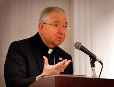 Archbishop Jose H. Gomez of Los Angeles speaks last August during the Catholic Association of Latino Leaders annual conference in Chicago. (CNS photo/Karen Callaway, Catholic New World)