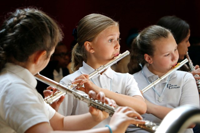 Students play flutes during band practice at Our Lady of Lourdes School in West Islip, N.Y., last year. National Catholic Schools Week is observed Jan. 29-Feb. 4 this year. (CNS/Gregory A. Shemitz, Long Island Catholic)