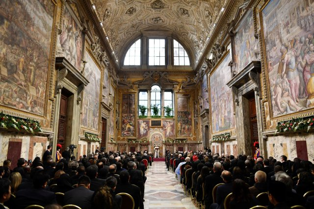 Pope Francis makes his speech during an audience with the diplomatic corps accredited to the Holy See for the traditional exchange of new year's greetings at the Vatican Jan. 9. (CNS photo/pool)