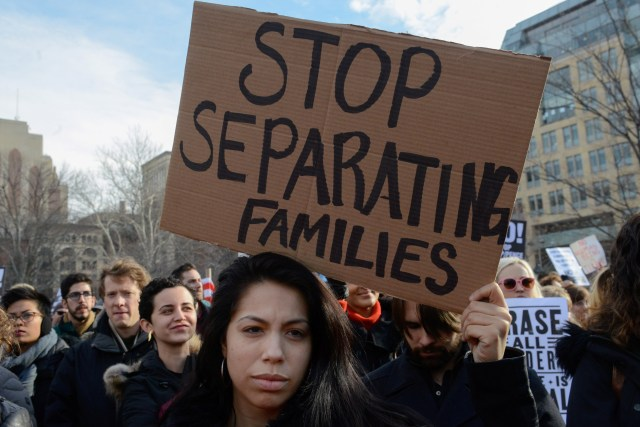 People participate in a protest Feb. 11 in New York City against President Donald Trump's immigration policy and recent Immigration and Customs Enforcement raids. (CNS/Reuters)