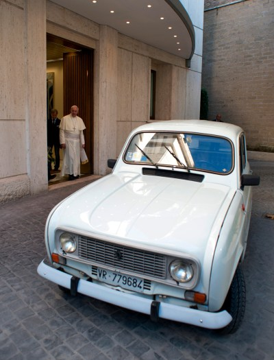 "A white 1984 Renault that Father Renzo Zocca donated to Pope Francis in 2013 highlights the importance of ""a poor church for the poor."" The Italian priest put more than 180,000 miles on the car, ministering to drug addicts and the poor. Pope Francis told the priest he had the same make and model when he worked in Buenos Aires, Argentina, and it ""never let him down."" (CNS/L'Osservatore Romano via Catholic Press Photo)"