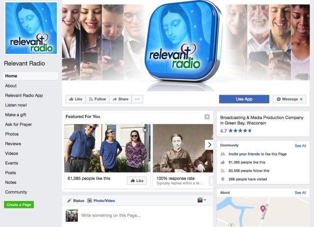 Facebook page of Relevant Radio. (CNS)
