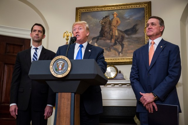 President Donald Trump announces the introduction in the Senate of the Reforming American Immigration for Strong Employment Act, or RAISE, with Sens. Tom Cotton, R-Ark., and David Perdue, R-Ga., at the White House Aug. 2. (CNS/pool via EPA)