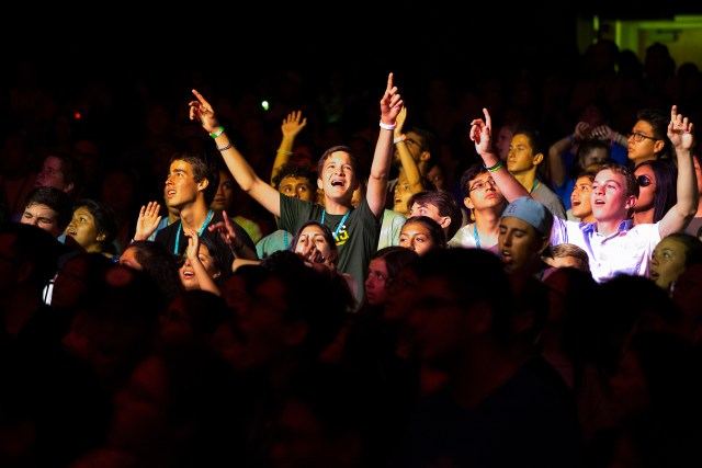 Young Catholics rejoice in song Aug. 4 during the third annual City of Saints youth conference on the campus of the University of California, Los Angeles. (CNS/Victor Aleman, Angelus News)