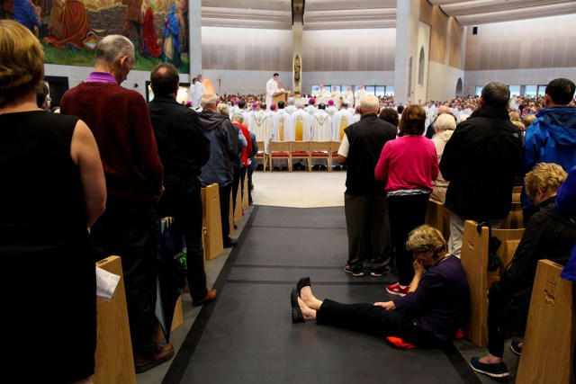 People attend Mass at Knock Shrine in Ireland Aug. 21. The Mass launched the one-year countdown to the 2018 World Meeting of Families. (CNS/courtesy John McElroy)