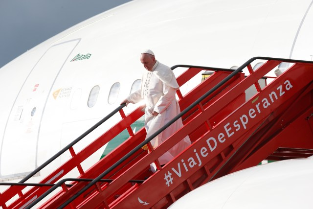 Pope Francis arrives in Bogota, Colombia, Sept. 6 for a five-day visit to the South American nation. (CNS/Paul Haring)