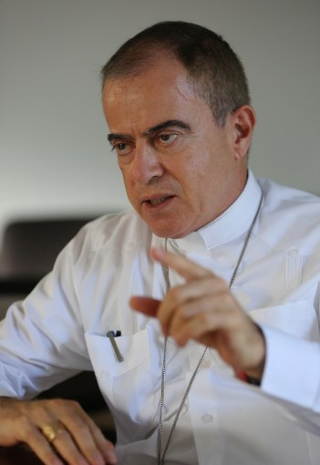 Archbishop Roberto Gonzalez Nieves of San Juan, Puerto Rico, gestures during an interview with Catholic News Service Oct. 25, more than one month after Hurricane Maria devastated the island. (CNS/Bob Roller)