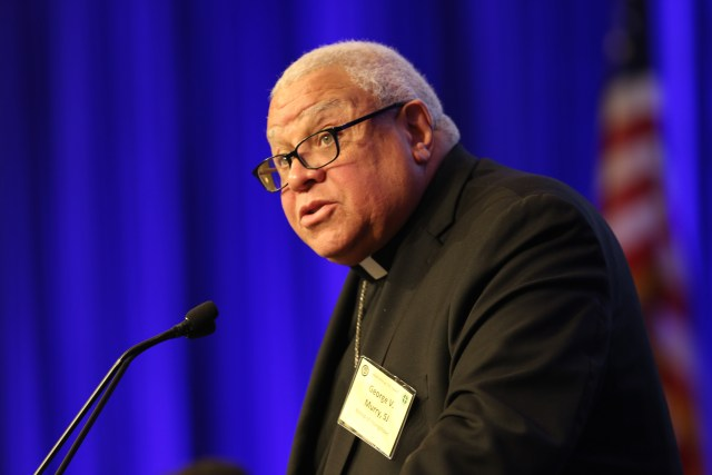 Bishop George V. Murry of Youngstown, Ohio, chair of the U.S. bishops' Ad Hoc Committee Against Racism, speaks Nov. 13 during the fall general assembly of the U.S. Conference of Catholic Bishops in Baltimore. (CNS/Bob Roller)