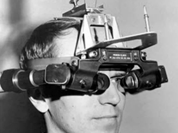 Thomas Caudell using first AR head-mounted display system