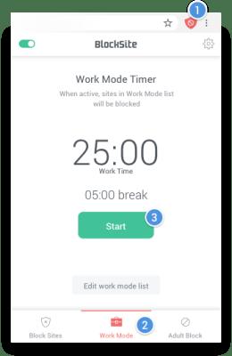 Blocksite Extension Work Mode Tab
