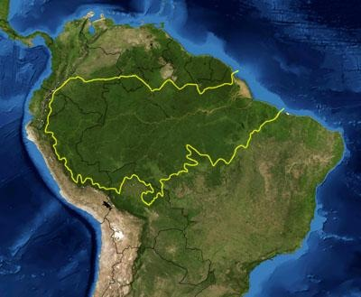 Amazonia, map the forest covers around 7,000,000square kilometres of land