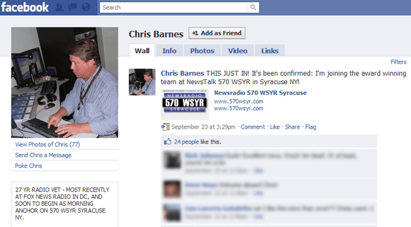 Chris Barnes announces on Facebook that he has been hired at WSYR.