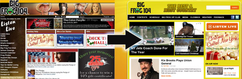 Side-by-Side: The old bigfrog104.com at left, compared with the new site, launched today.