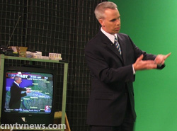 WSYR-TV's Dave Longley at the chroma key wall during a 2009 newscast.