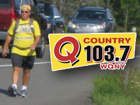 WQNY's Chris Allinger walked to every town in Tompkins County in August, raising $16,000 for charity.