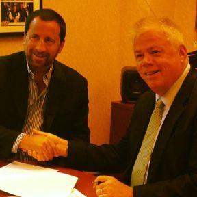 Syracuse Crunch owner Howard Dolgon, left, with Galaxy Communications CEO/President Ed Levine, in a photo posted on the hockey team's Facebook page today.