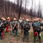 Fire crew meeting before completing burnt forest restoration work