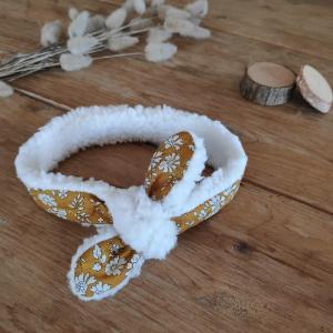 Bandeau pour bébé en tissu liberty capel moutarde et fausse fourrure