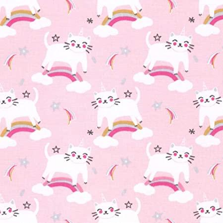Tissu rose à motifs chat licorne et arc en ciel