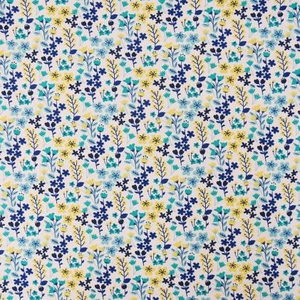 Tissu à motifs fleurs bleues et jaunes