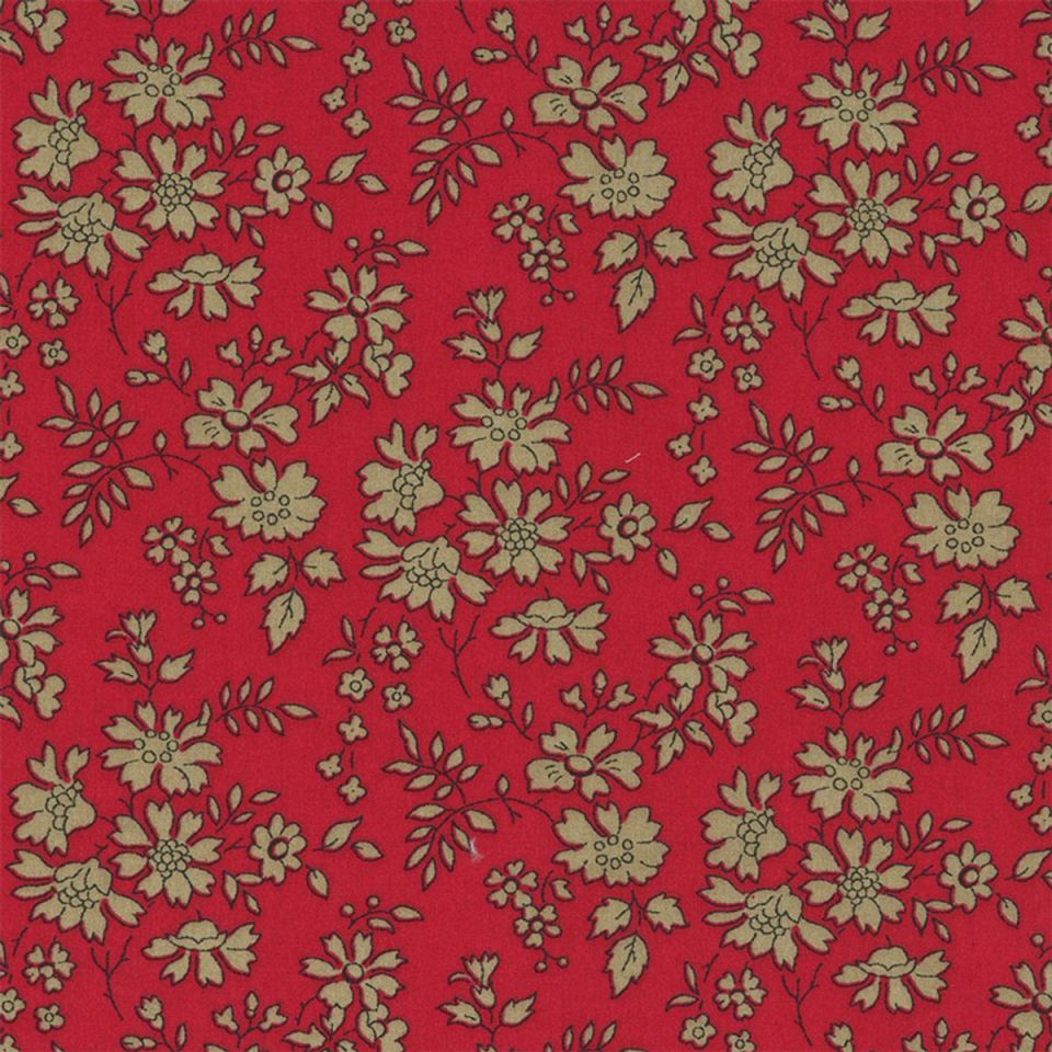 Tissu Liberty capel rouge fleurs couleur taupe fond rouge