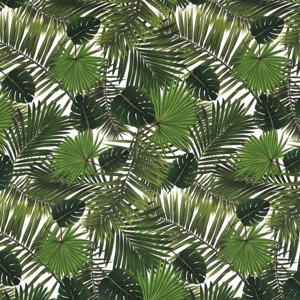 Tissu à motifs feuilles de palmiers vert