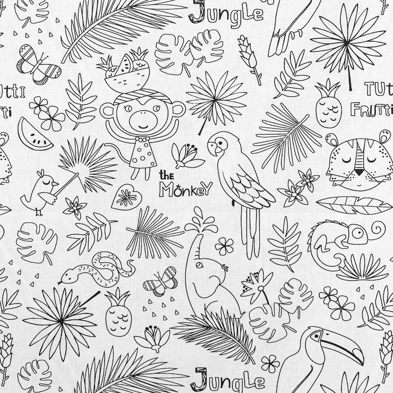 Tissu coton noir et blanc à motifs jungle