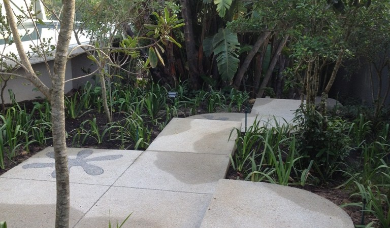 Bali inspired concrete paths in the shade