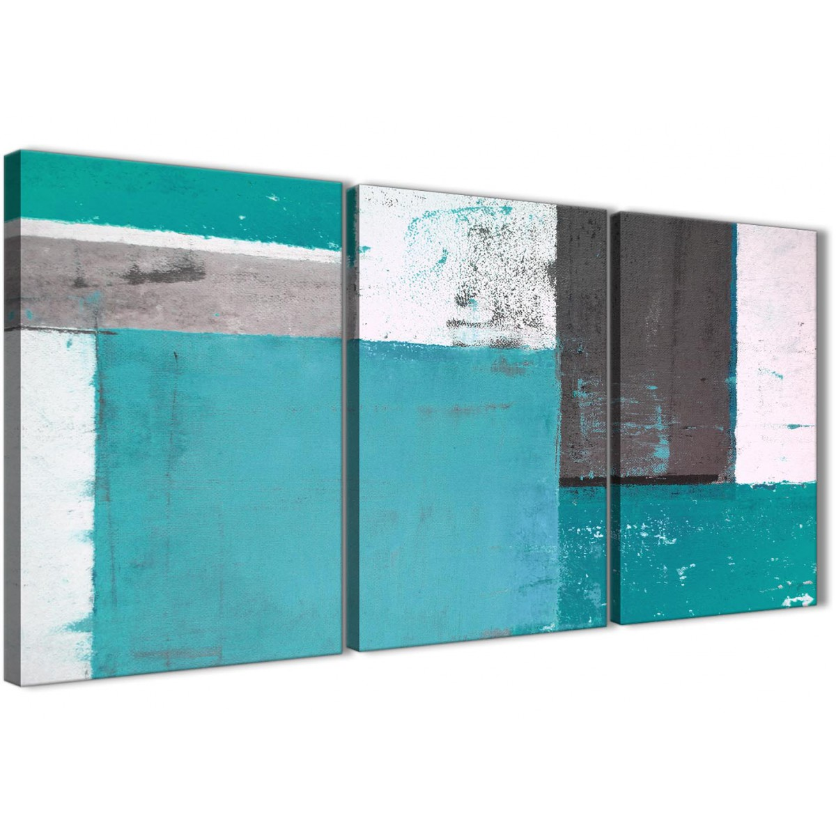 Teal Grey Abstract Painting Canvas Wall Art Multi 3 Set 125cm Wide 3344