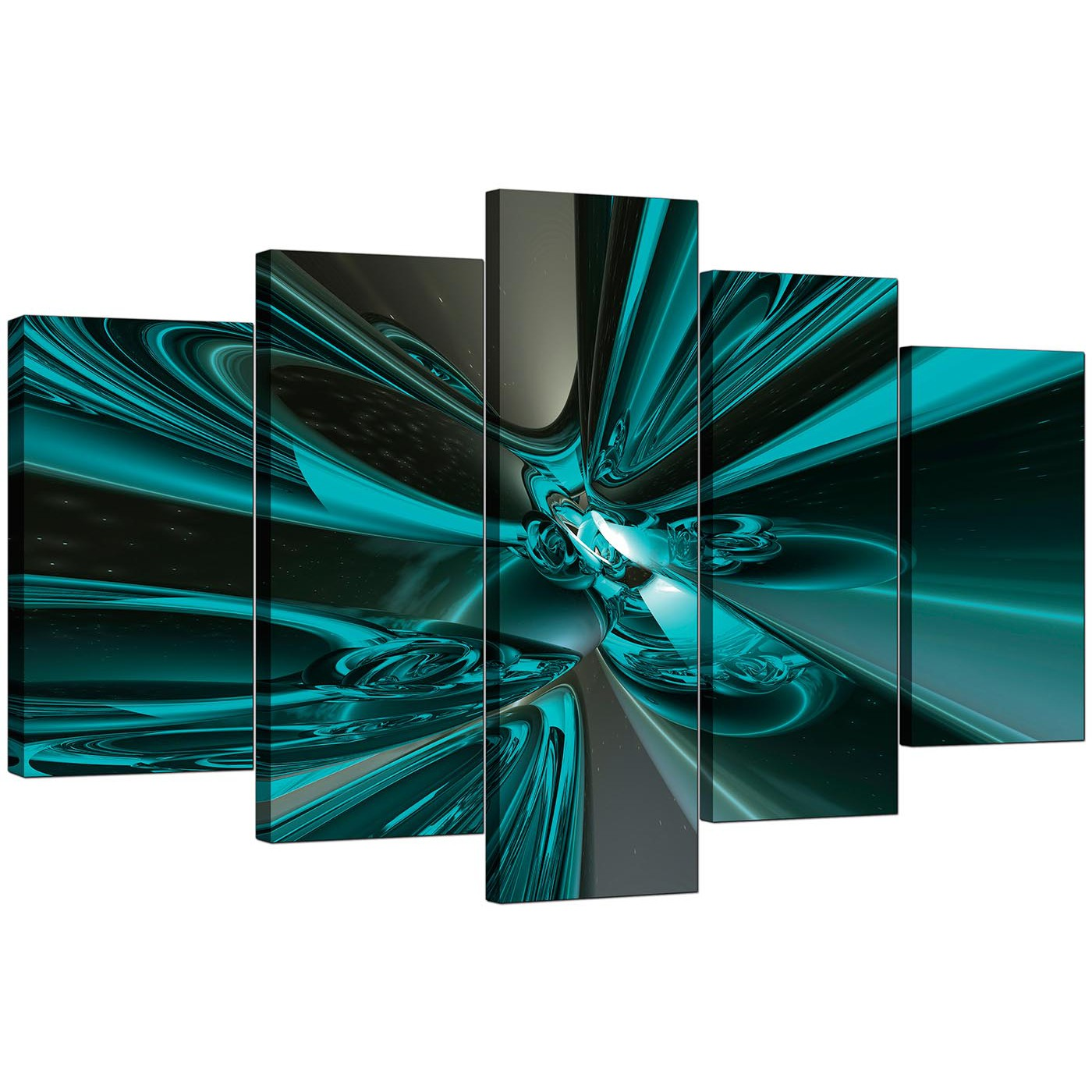 Extra Large Teal Abstract Canvas Prints 5 Piece
