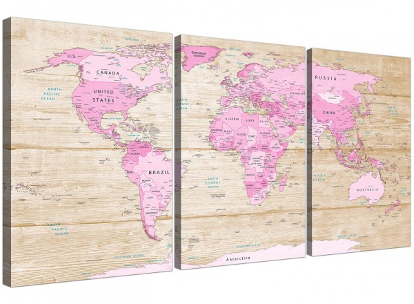 Large Pink Cream Map Of World Atlas Canvas Wall Art Print Multi 3 Piece 3309