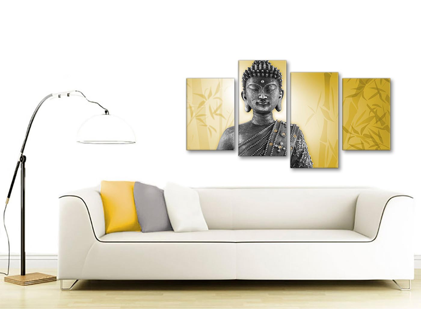 Large Mustard Yellow And Grey Silver Canvas Art Print Of