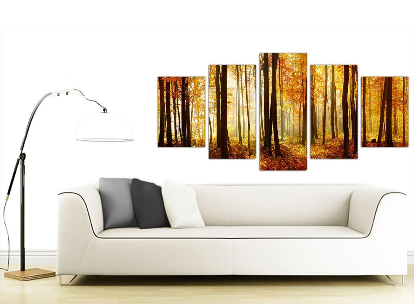 Extra Large Canvas Art Of Orange Forest Trees Print