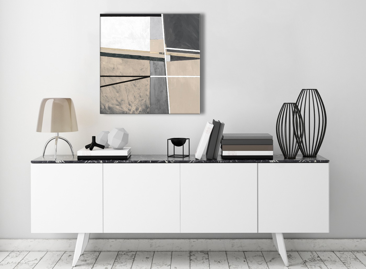 Beige Cream Grey Painting Stairway Canvas Wall Art Decorations Abstract 1s394m 64cm Square Print