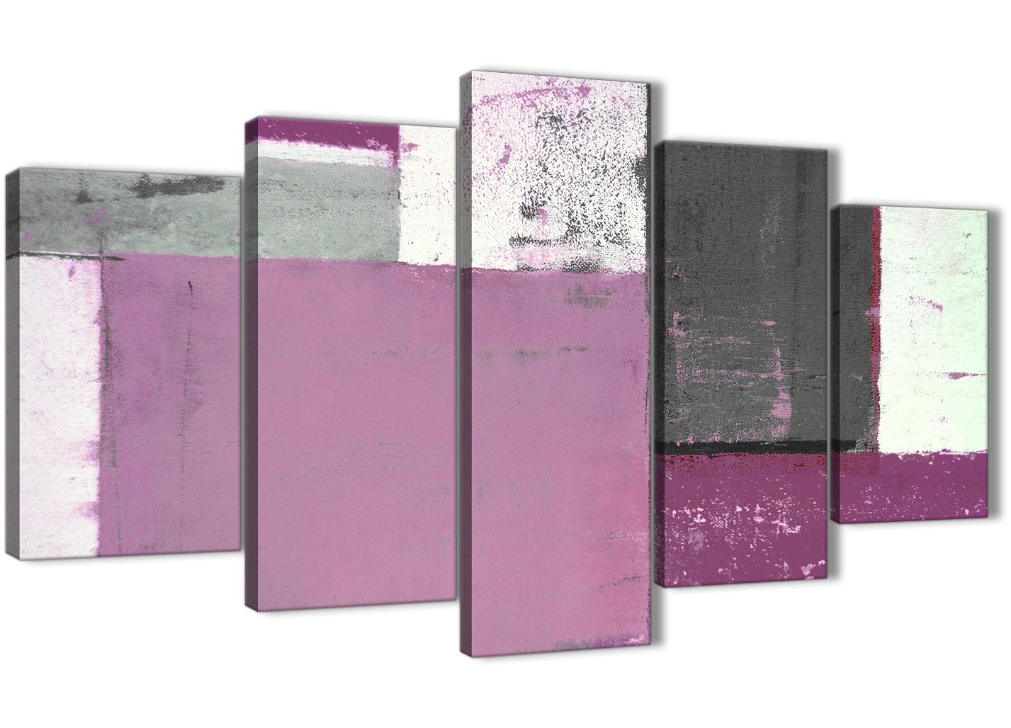 Extra Large Purple Grey Abstract Painting Canvas Wall Art Picture Split 5 Part 160cm Wide 5355