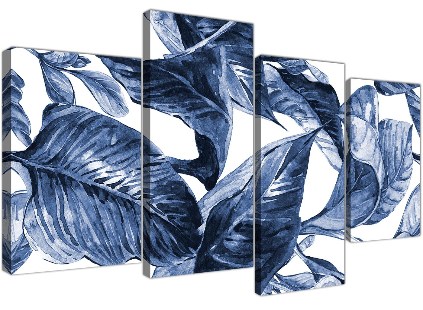 Large Indigo Navy Blue White Tropical Leaves Canvas Wall Art Split 4 Set 4320