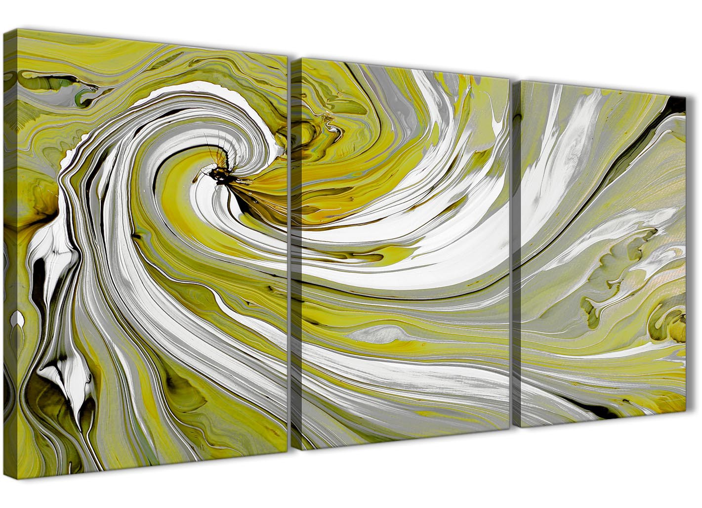 Lime Green Swirls Modern Abstract Canvas Wall Art Split 3 Piece 125cm Wide 3351