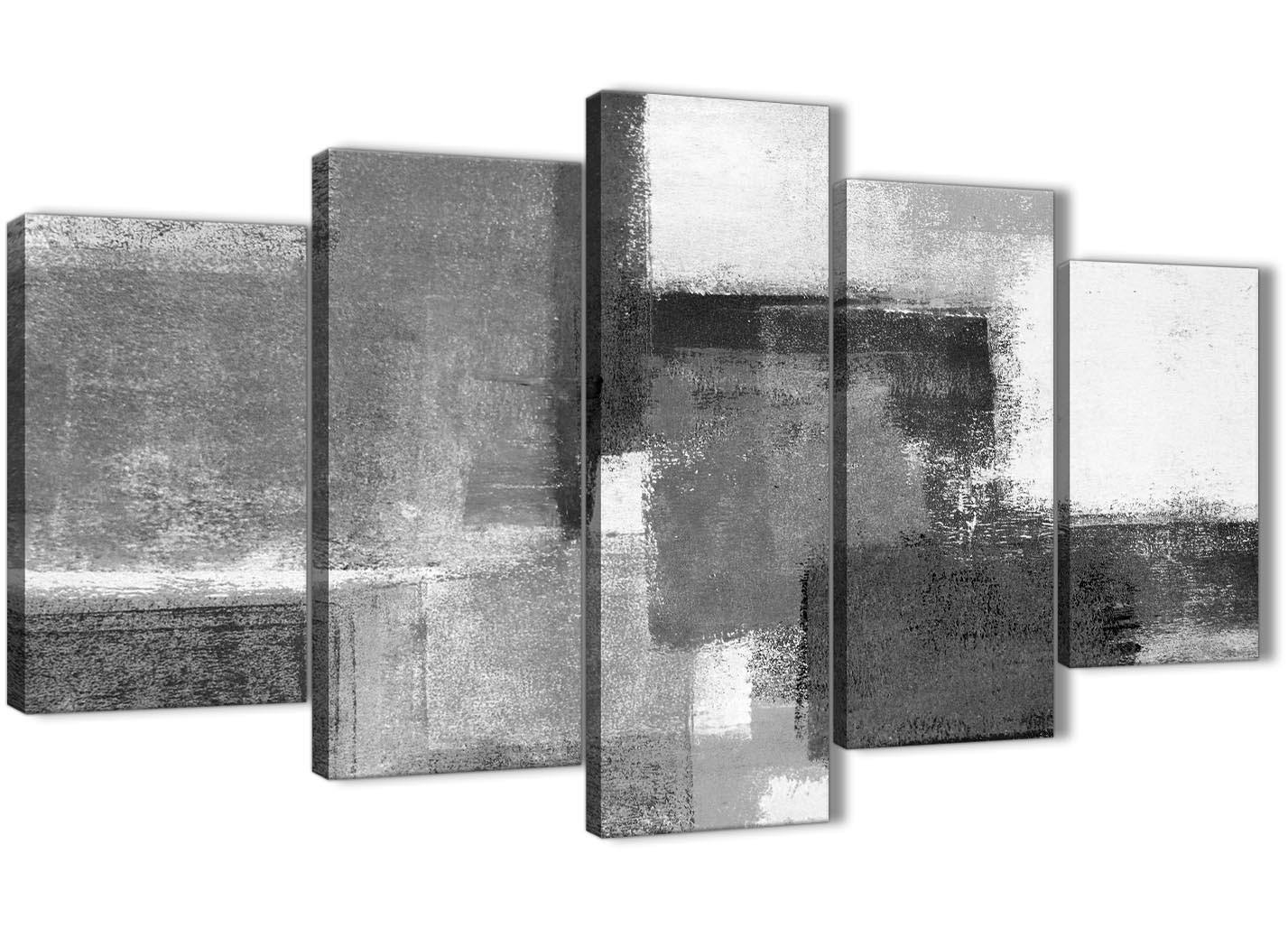 5 Piece Black White Grey Abstract Dining Room Canvas Pictures Decorations 5368 160cm XL Set