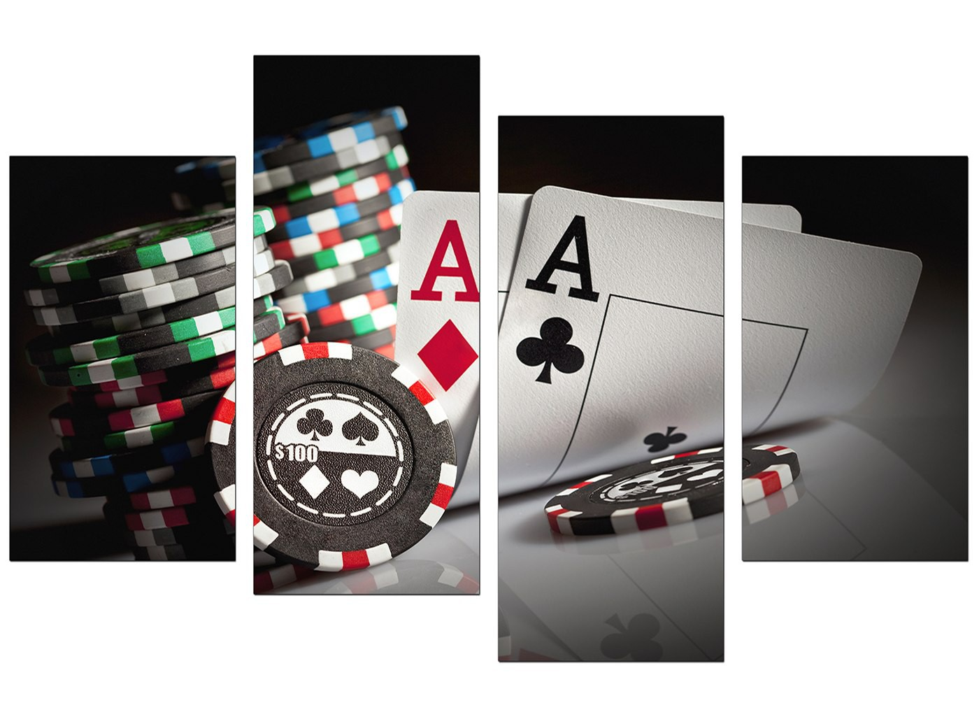 Canvas Prints Of Poker Cards For Your Study 4 Part