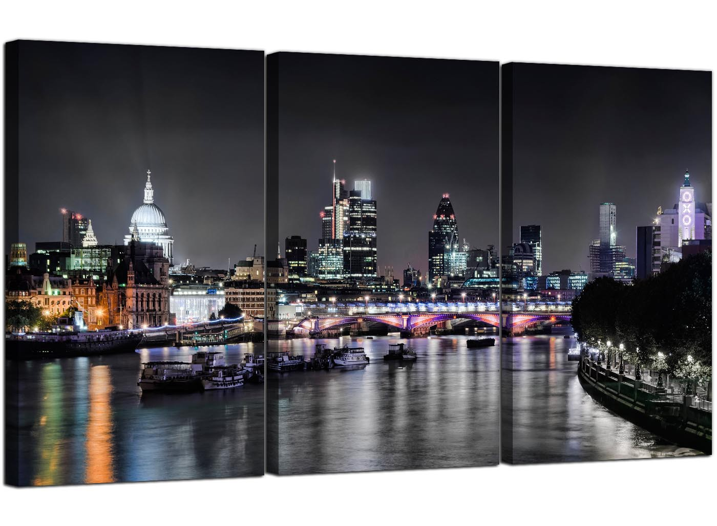 Cheap London Skyline At Night Canvas Art 3 Panel For Your