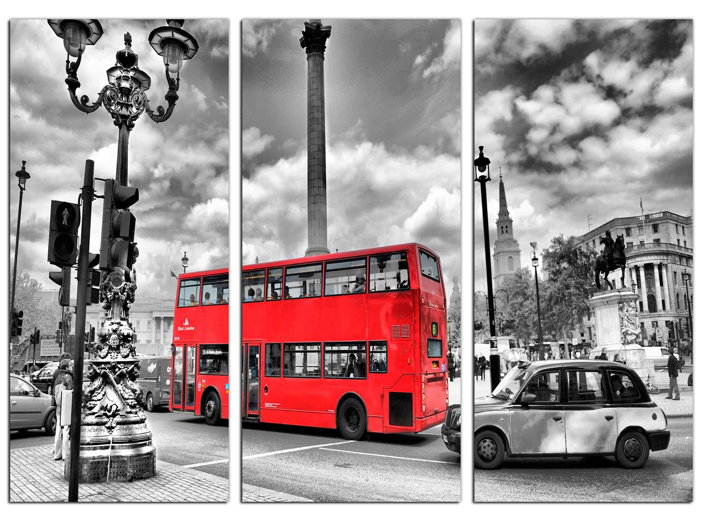 Red London Bus Canvas Prints Set Of 3 For Your Bedroom