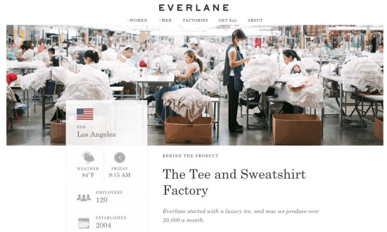 Everlane uses honesty and integrity to enhance their brand and differentiate themselves