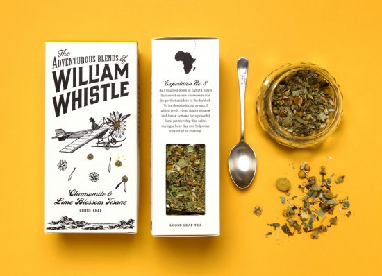 horse design studio's packaging for the adventurous blend of william whistle