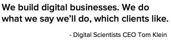 Quote from Atlanta digital agency Digital Scientists