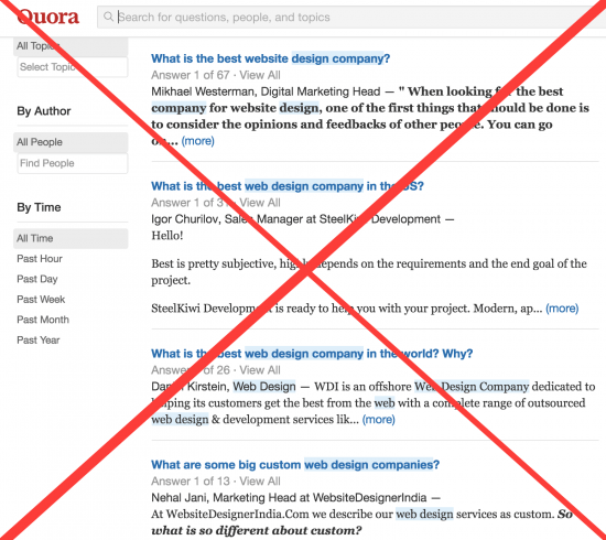 don't waste time asking questions about web design agency on quora