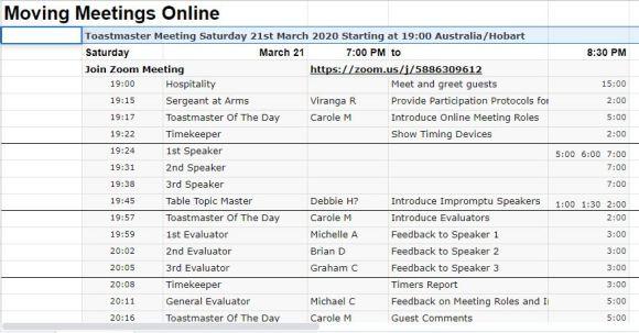 mock meeting online agenda in google sheets