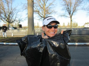 Wearing a trash bag pre-race to keep warm. Yes, its ghetto. But it works.